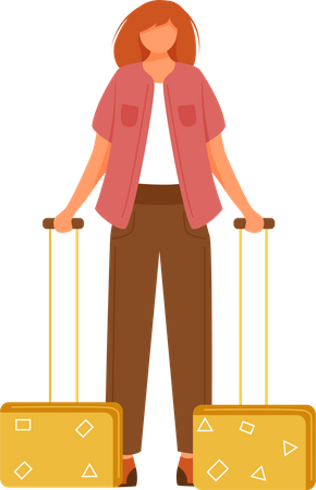 Woman going Holiday trip with suitcases Illustration
