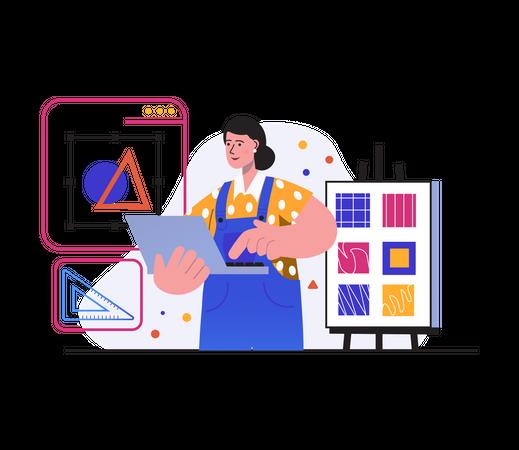 Woman Graphic designer doing designing Illustration