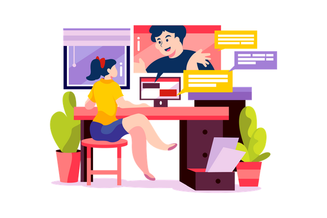 Woman has a online meeting with her partner from home Illustration