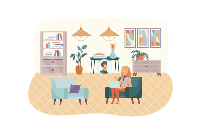 Woman have video call meeting at laptop sitting at living room Illustration