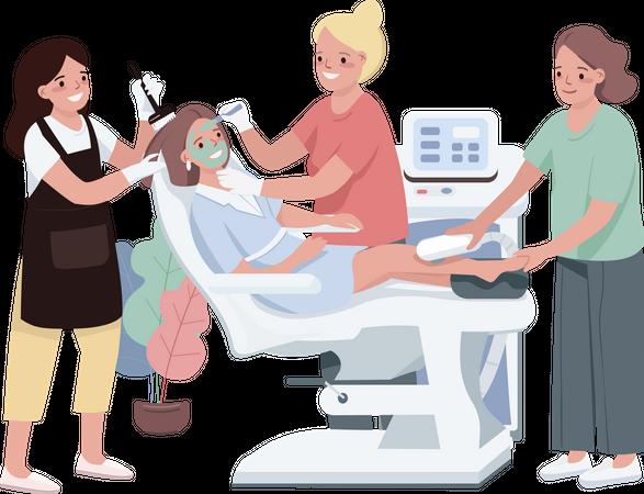 Woman having Face treatment Illustration