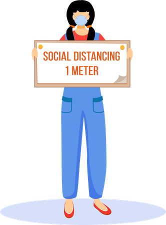 Woman hold sign of Social distancing 1 meter Illustration