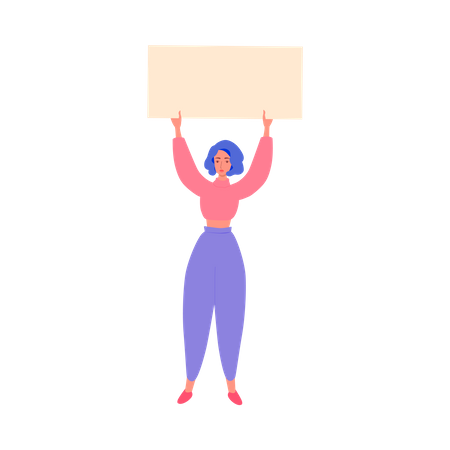 Woman holding banner above her head Illustration
