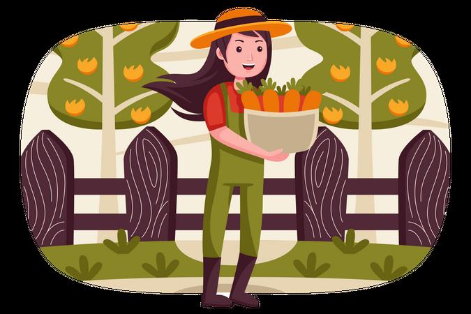 Woman holding carrot basket Illustration