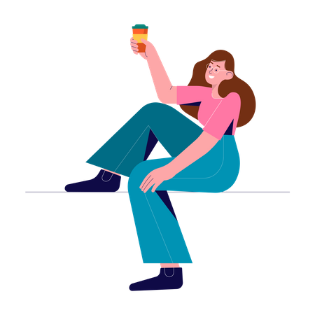 Woman holding coffee cup Illustration