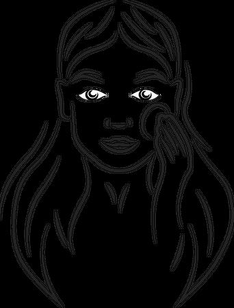Woman holding cotton pad contour portrait Illustration