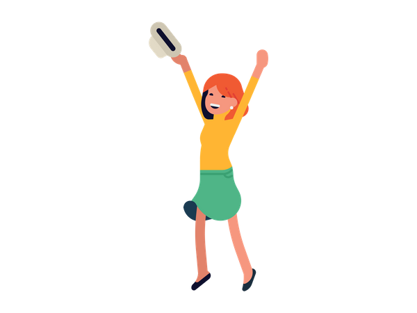 Woman holding hat in her hand and celebrating victory Illustration