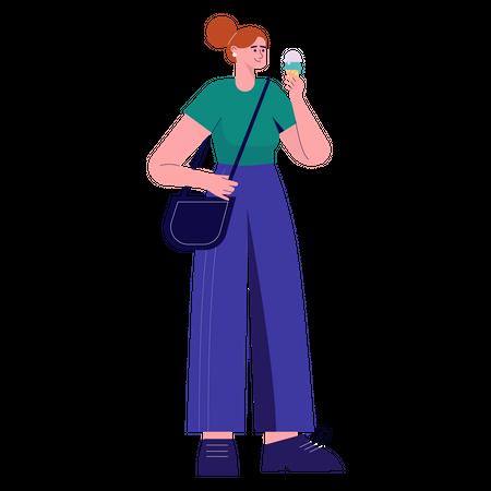 Woman holding Ice Cream cone Illustration