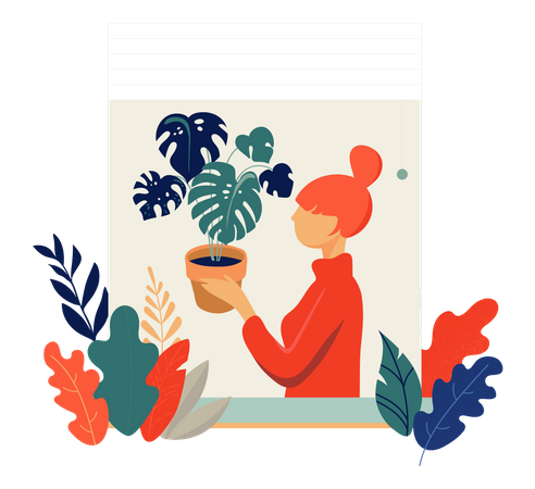 Woman Holding Leaves Plant pot on her hand Illustration