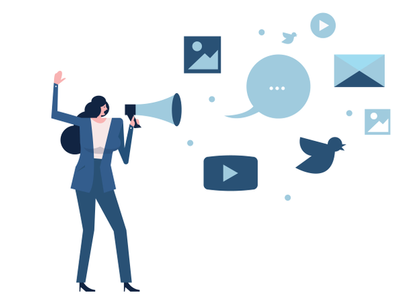 Woman Holding Megaphone With Social Media Icon Illustration