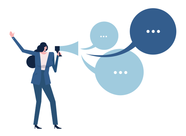 Woman Holding Megaphone With Talking Bubbles. Vector Illustration Illustration