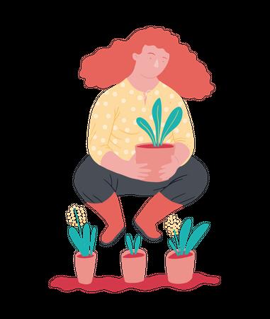 Woman holding plant pot Illustration