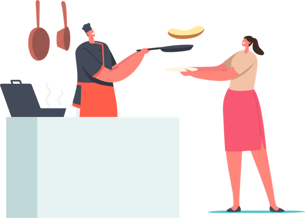 Woman Holding Plate front of Desk with Chef Frying Sausage and Making Toasts Illustration