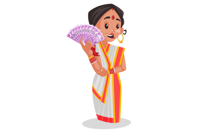 Woman holding Rupees in her hand Illustration