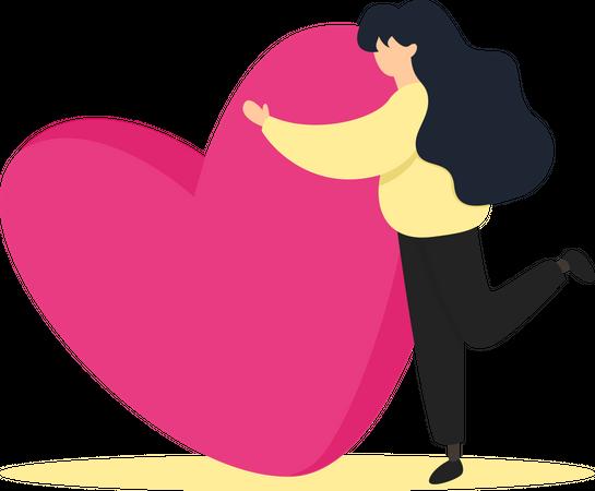 Woman hugging heart Illustration