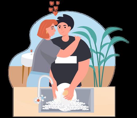 Woman Hugging while Man Washing Dishes Illustration