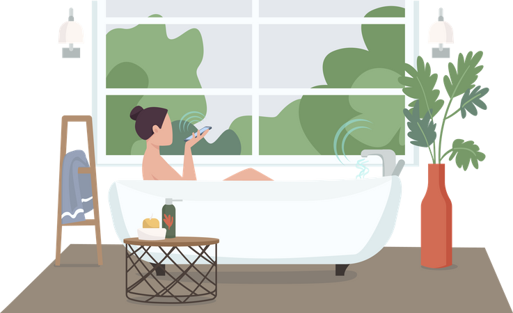 Woman in automated bathroom Illustration