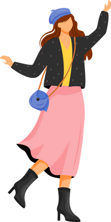 Woman in autumn outfit Illustration