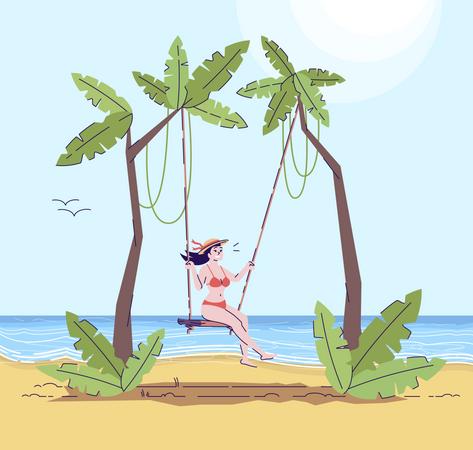 Woman in bathing suit on swing Illustration