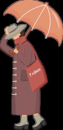 Woman in brown raincoat Illustration