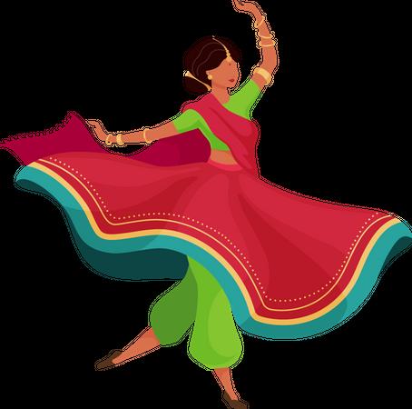 Woman in flowing sari Illustration