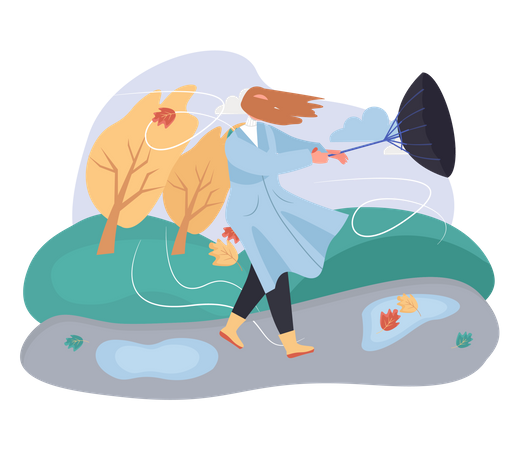 Woman in Heavy wind and blown umbrella Illustration