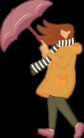 Woman in orange raincoat Illustration
