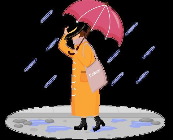 Woman in raincoat Illustration