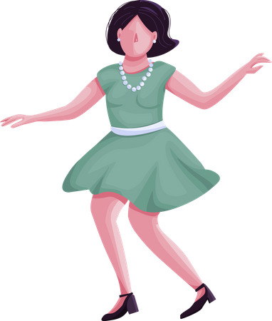 Woman in retro clothes dancing Illustration