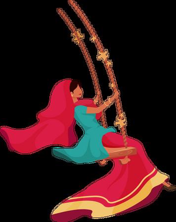Woman in sari Illustration