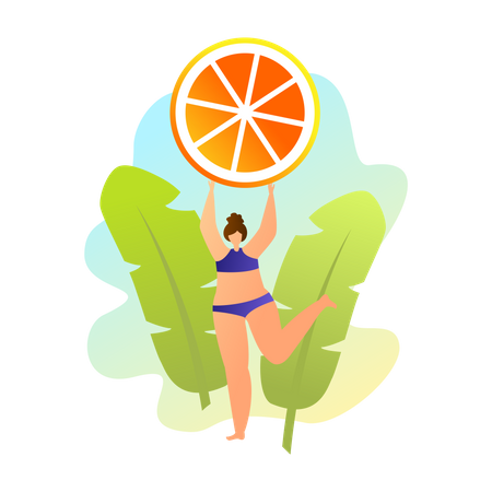 Woman in swimsuit posing with orange over green leaves background Illustration
