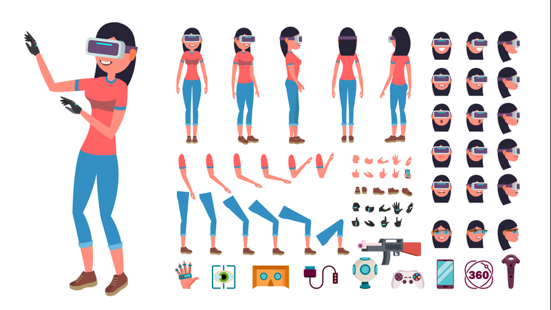 Woman In Virtual Reality Headset Different Parts Used For Animation Illustration