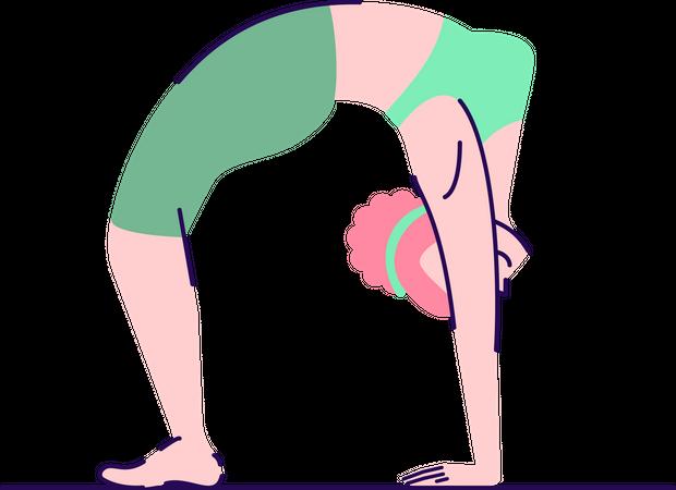 Woman in wheel pose Illustration