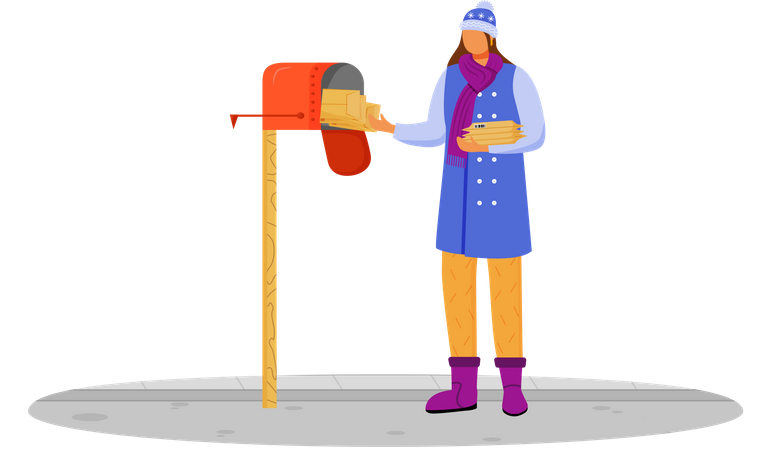 Woman in winter clothes receives post Illustration