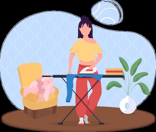 Woman ironing clothes Illustration