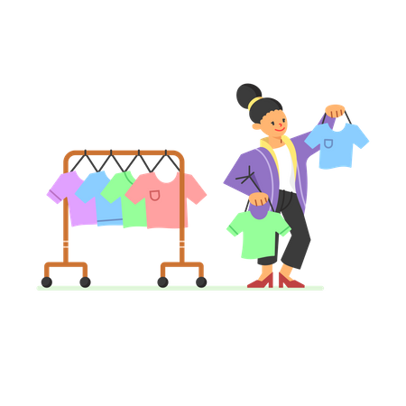 Woman is choosing clothes to buy Illustration