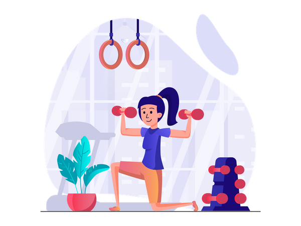 Woman lifting dumbbells Illustration