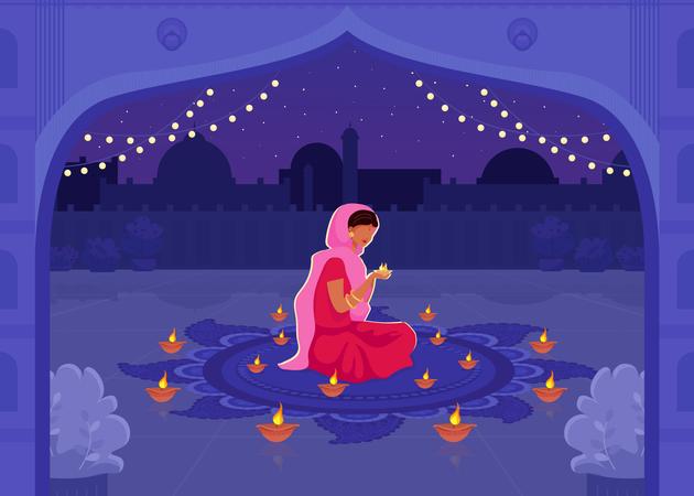 Woman lightning Diya Illustration