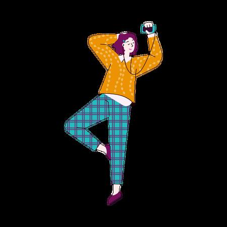Woman listening music on headphones Illustration