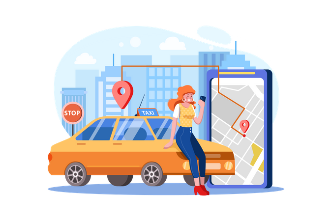 Woman Locating taxi route from digital map Illustration