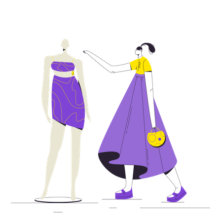 Woman looking at mannequin dress Illustration