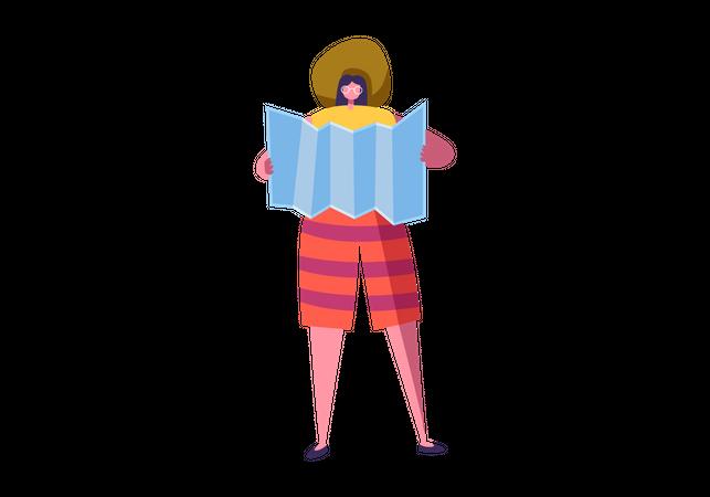 Woman looking at map Illustration