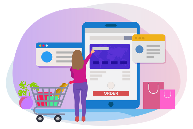 Woman making online shopping payment Illustration