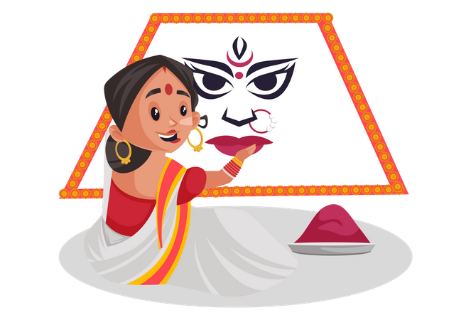 Woman making rangoli for durga puja Illustration