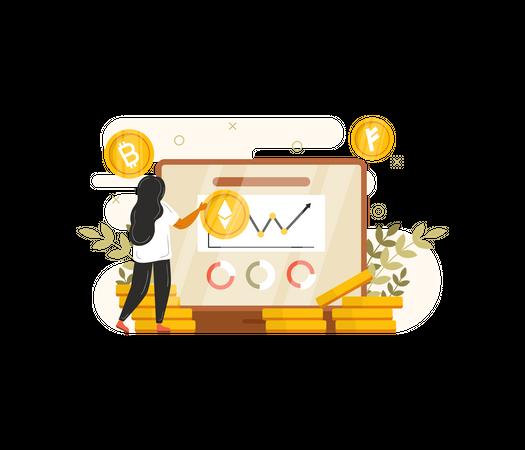 Woman making statistics of crypto Illustration