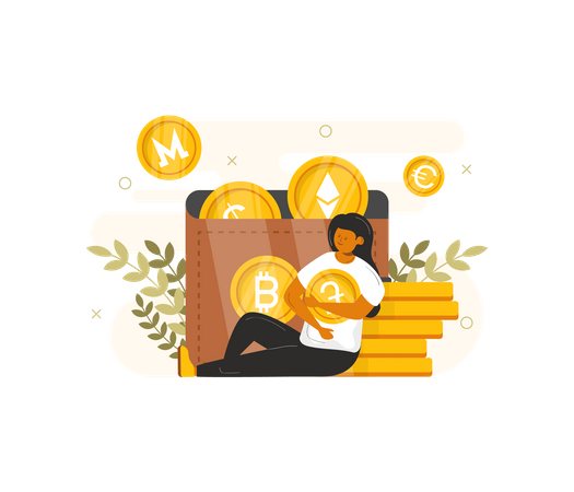 Woman managing cryptocurrency wallet Illustration