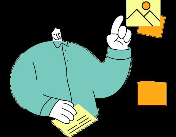 Woman managing media files Illustration
