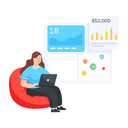 Woman managing sales analytics data Illustration