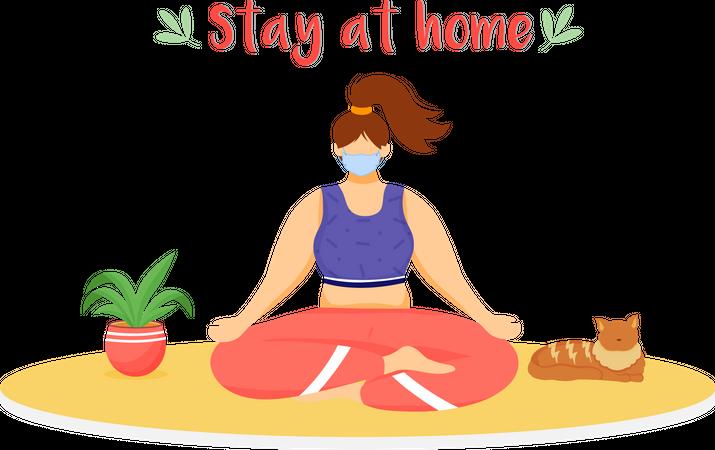 Woman meditating with medical mask Illustration