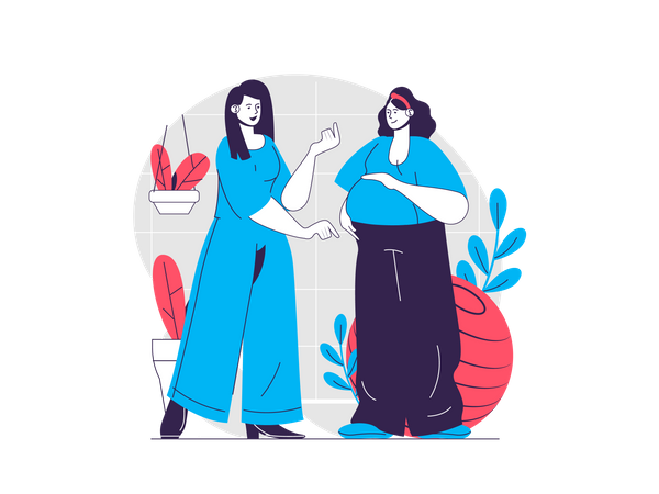 Woman meeting her friend Illustration